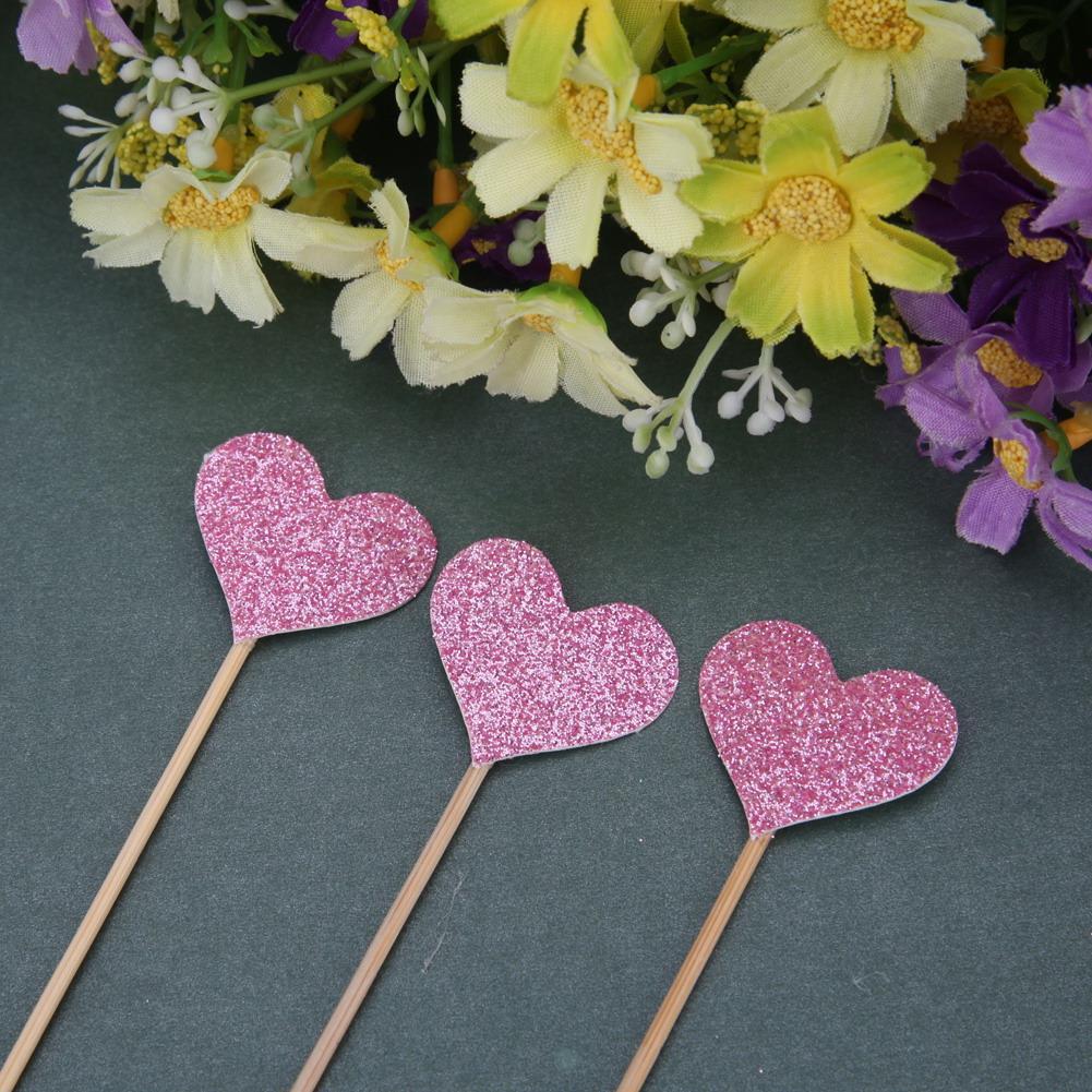 40 pçs / set de bolo de Casamento amor coração linserted cartão de papel com vara de bambu para decoração de bolo de aniversário de sobremesa suprimentos