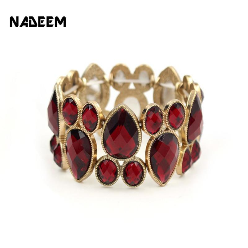 Vintage Black,Grey,Red Color Crystal Elastic Bracelet Bangles Bohemia Gold Designer Bijoux For Women Adjustable Pulseira Ouro