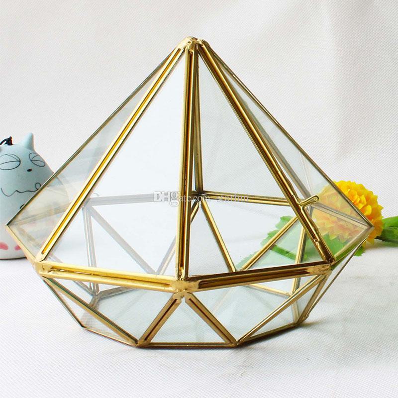 17 * 14 CM Minyatür Cam Teraryum Geometrik Elmas Masaüstü Bahçe Ekici Etli Bitkiler Cam Ev Bahçe Ev Dekor WX9-676