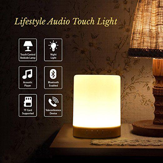 Bluetooth Wireless LED Touch Speaker 5 button Stereo Sound LED Light Music Player Loudspeaker Bedside Table Lamp Speakerphone TF Card