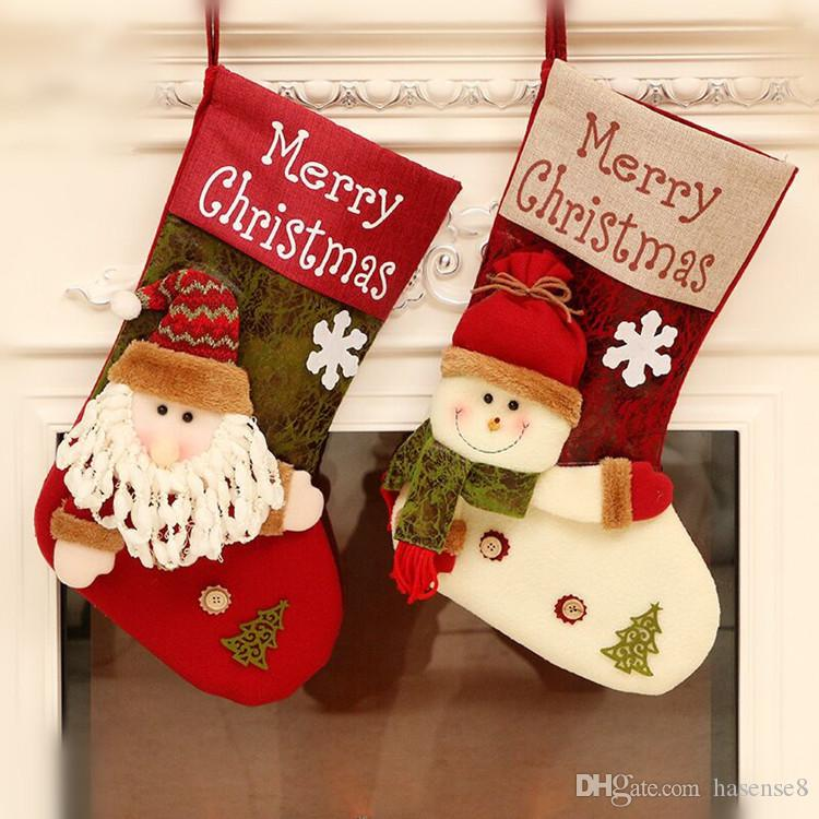 cute christmas stockings decorations big size stocking holders gift bags xmas snowman santa 3d hanging kids toys boys xmas toys cheap xmas toys from - Decorative Christmas Stocking Holders