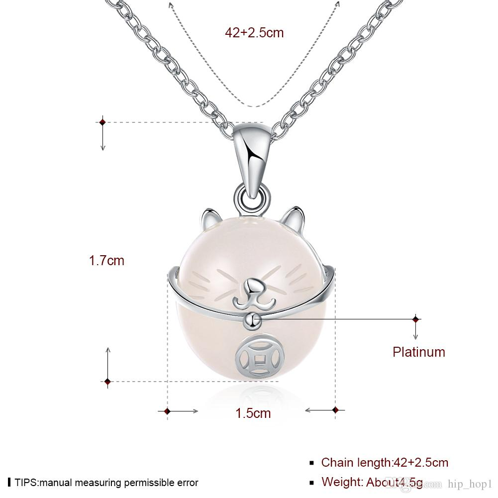 New Arrival 925 Sterling Silver Pendant Necklace Animal Cat Moonstone Fine Jewelry Gift for Women Child Collier Lucky Cat Charms Necklace