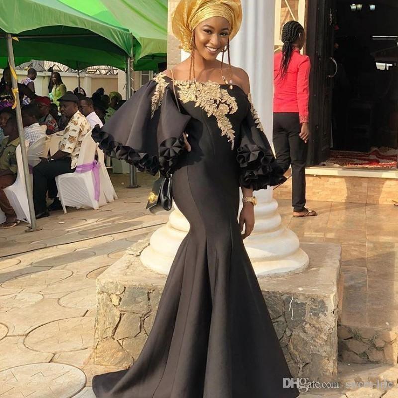 2019 Glamorous Mermaid elegante vestido de fiesta sexy Bateau aplique de oro de manga larga vestido de fiesta especial Dubai AsoEbi vestido de noche barato