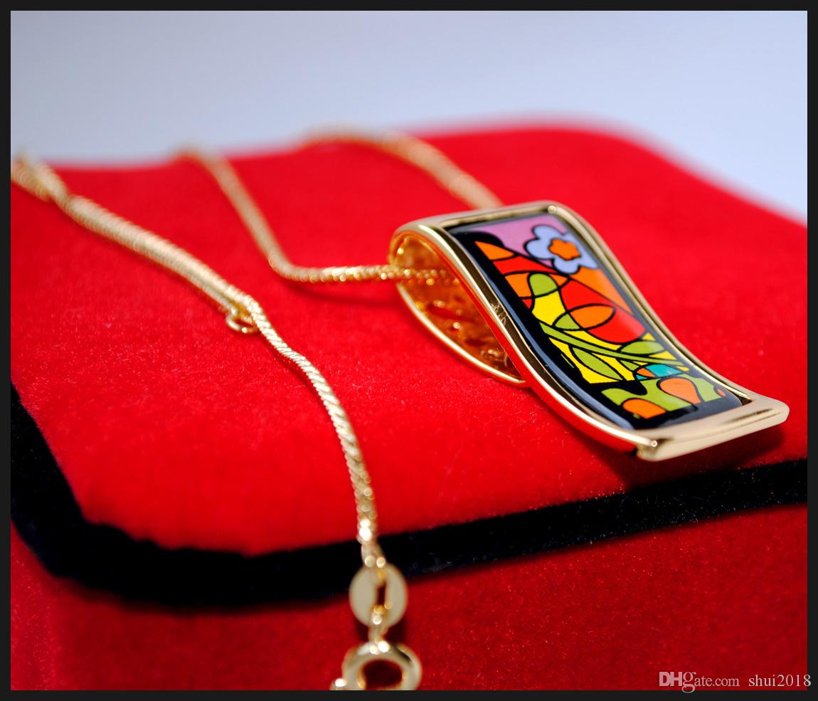 """Dream Garde Series Necklaces18K gold-plated enamel necklaces for women Top quality """"S"""" shape pendant necklaces colar women necklace for gift"""
