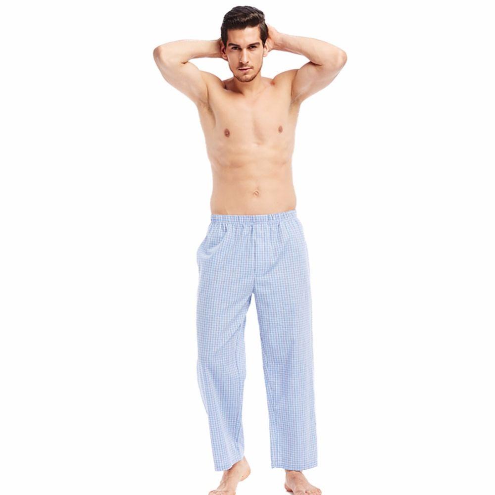 eeeffb4ee5a6 2019 THREEGUN 100% Cotton Men S Sleep Bottoms Plaid Sleepwear Vacation  Pajamas Hombre Lounge Pants Sheer Pajamas Male Large Size Blue From  Yesterlike
