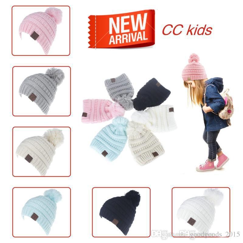 CC Hats Baby Boys Girls Knitted Pom Pom Hat Children CC Beanies Kids ... 1ade15ca9588