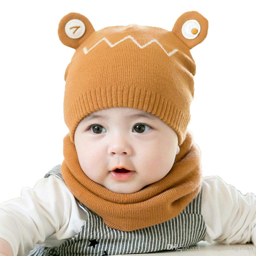 cf713825299 2019 Autumn Winter Cotton Baby Hat Scarf Set For Children Boys Girl Kids  Cartoon Beanie Cap And Ring Scarves Warm Suit MZ7026 From Changcheng1688