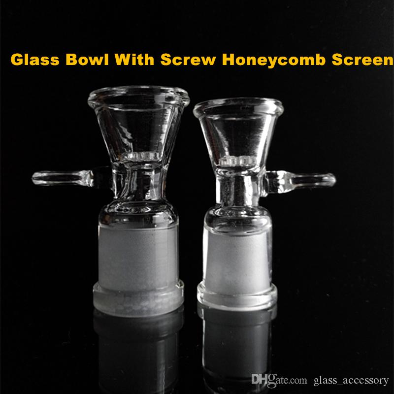 Glass Bowl For Bongs With Screw Honeycomb Screen 14mm 14.5mm 18mm 18.8mm Female Joint Glass Bong Accessories for Smoking Pipe
