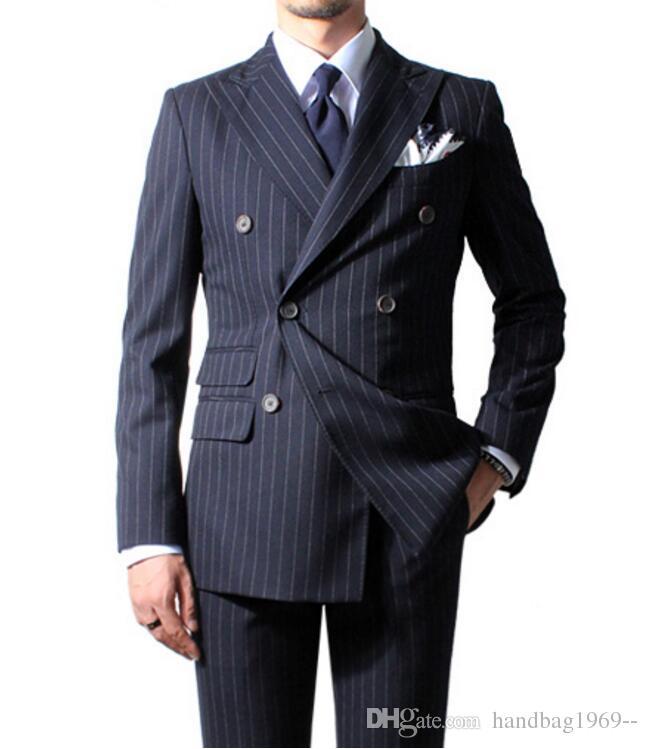 Yeni Moda Kruvaze Lacivert Şerit Damat Smokin Groomsmen Peak Yaka Best Man Blazer Erkek Düğün Takımları Ceket + Pantolon + Kravat H: 904