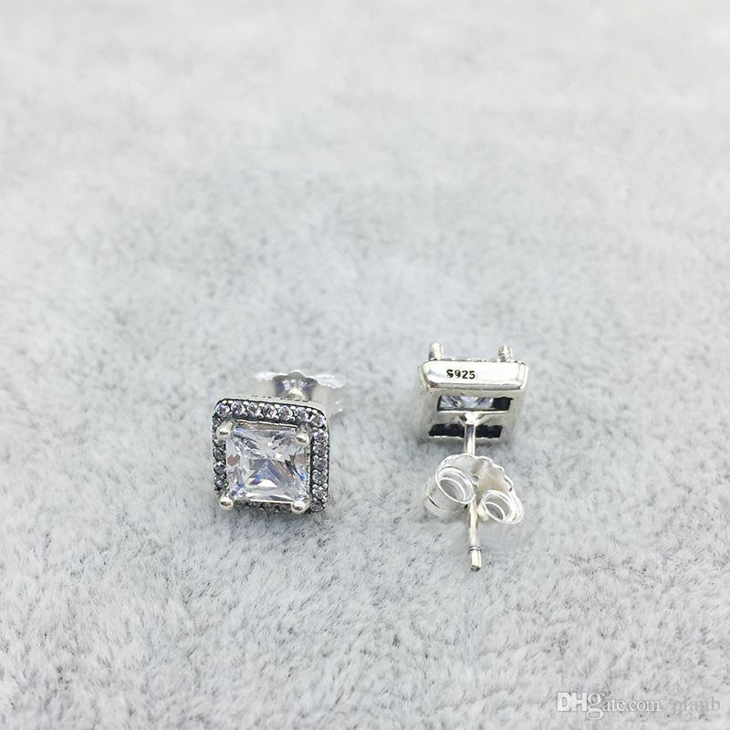 925 Ayar Gümüş Kare Büyük CZ Elmas Küpe Fit Pandora Takı Altın Gül Altın Kaplama Damızlık Küpe Kadın Küpe