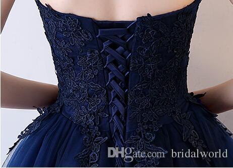 Promenade à vos côtés robes de soirée bleu marine court avant longues robes de soirée dos dentelle appliques sans bretelles robes de fête robes de bal