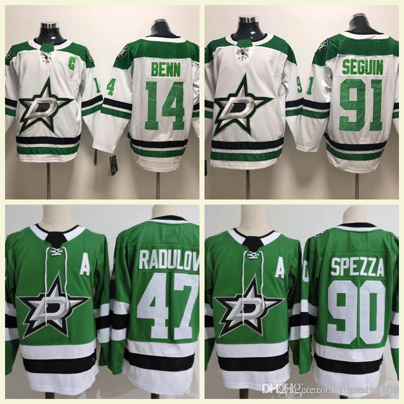 best service f766d a0fce Dallas Stars Ice Hockey 47 Radulov 14 Jamie Benn 90 Jason Spezza 91 Tyler  Seguin 30 Ben Bishop Stitched White Green Jerseys S-3XL