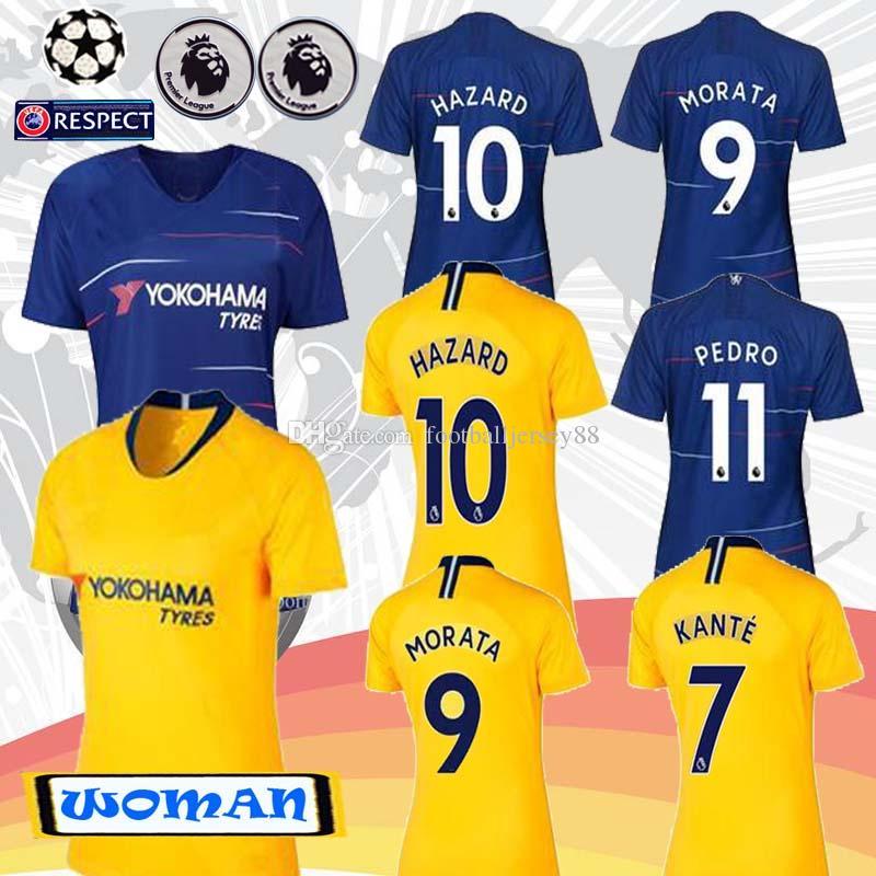 18 19 HAZARD MORATA KANTE GIROUD Women Soccer Jersey 2018 2019 ... f67bf7350