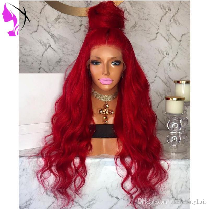 Stock Red body Wave Type Heat Resistant Hand Tied Cosplay Synthetic Lace Front Party Wigs For Women Masquerade Makeup