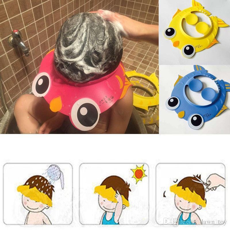 Baby Kinder Kinder Safe Shampoo Bad Baden Duschhaube Hut Waschen Haar Schild