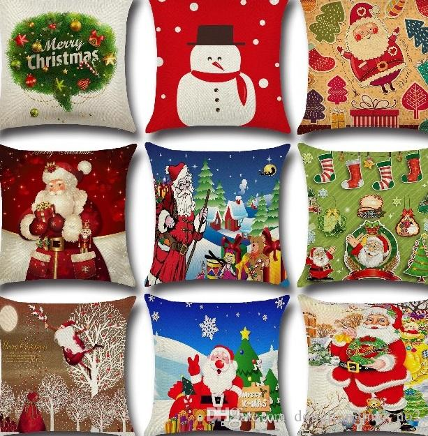 DLM2 hotsell Linen Merry Christmas Cushion pillow Cover Xmas Square Throw Pillow Case For Home Mr Reindeer Decorative Cushion Cover wn296