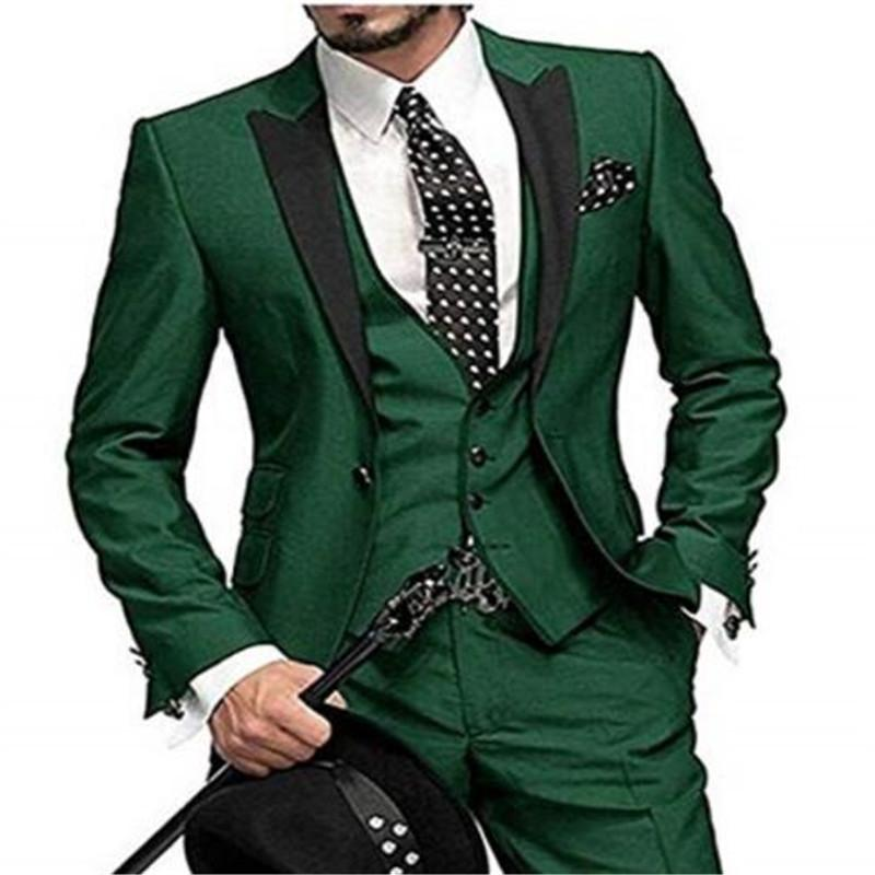 2018Classic Green Evening Party Men Suits Custom Made Wedding Tuxedos Blazer For Man Latest Design 3Pieces Jacket+Pant+Vest
