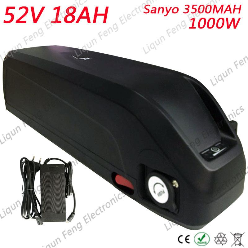 US EU No Tax New Shark case 14S Sanyo cell 52V 18AH Li-ion Battery 48V 1000W 1200W Electric Fat Bike Hailong Battery 51.8V 18AH