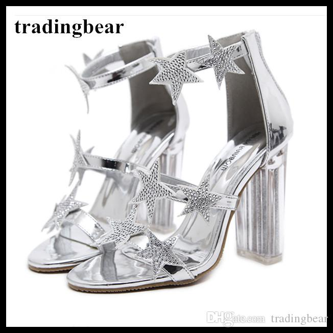 10de79c5a06 Glitter Silver Rhinestone Star Transparent Thick High Heels Bride Crystal  Wedding Shoes 2018 Runway Show Size 34 To 39 Vegan Shoes Cheap Heels From  ...