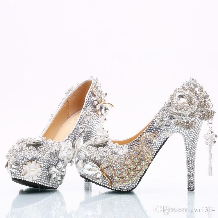2018 Handmade Luxury Silver Crystal Flowers Tassel High Heel Rhinestone Bling  Bling Wedding Shoes Bridal High Heels Party Prom Wedding Shoes Wedding Shoes  ... e090159ba461