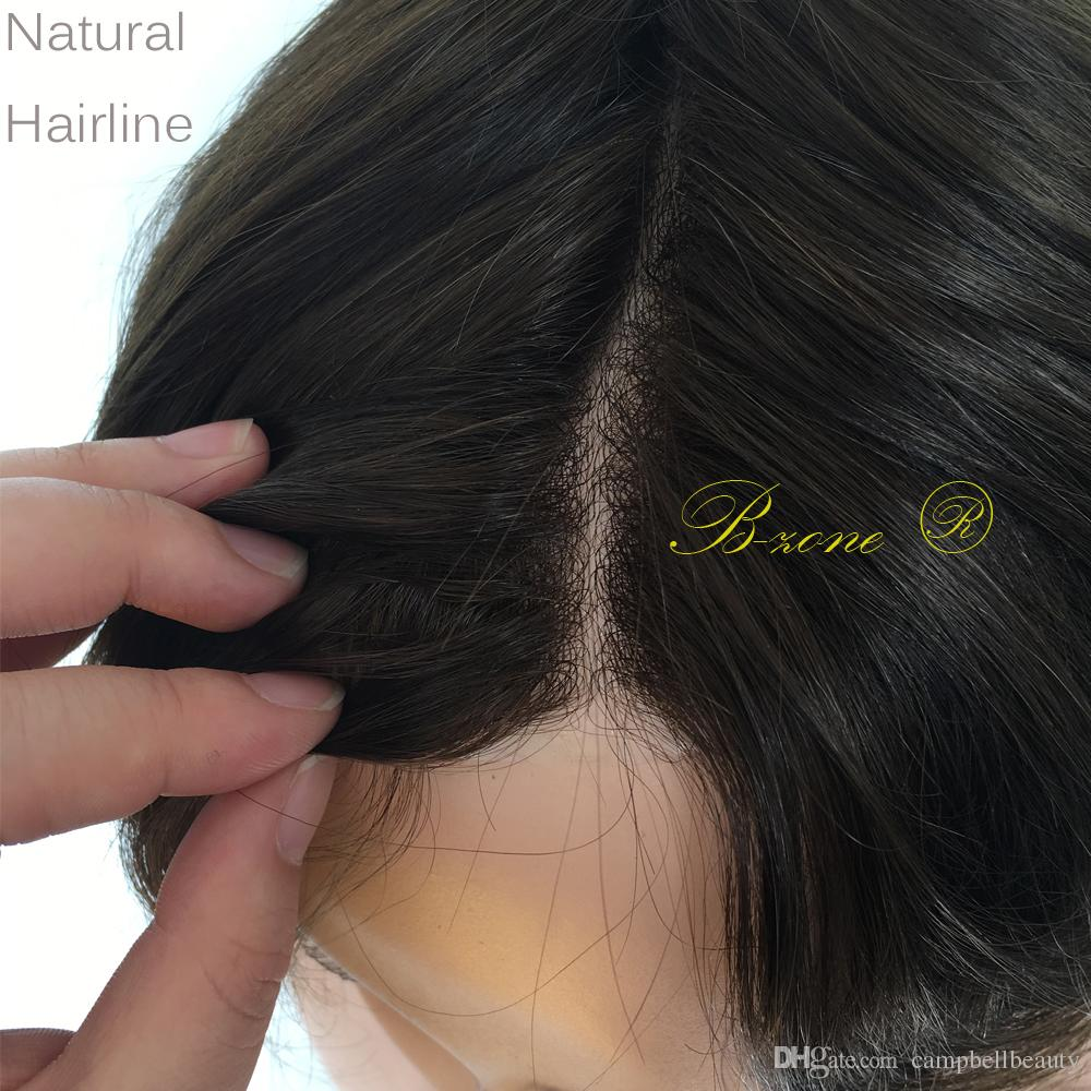 Full Thin Skin Men Toupee Brown and Black Color Indian Human Hair straight Full PU Replacement for Men