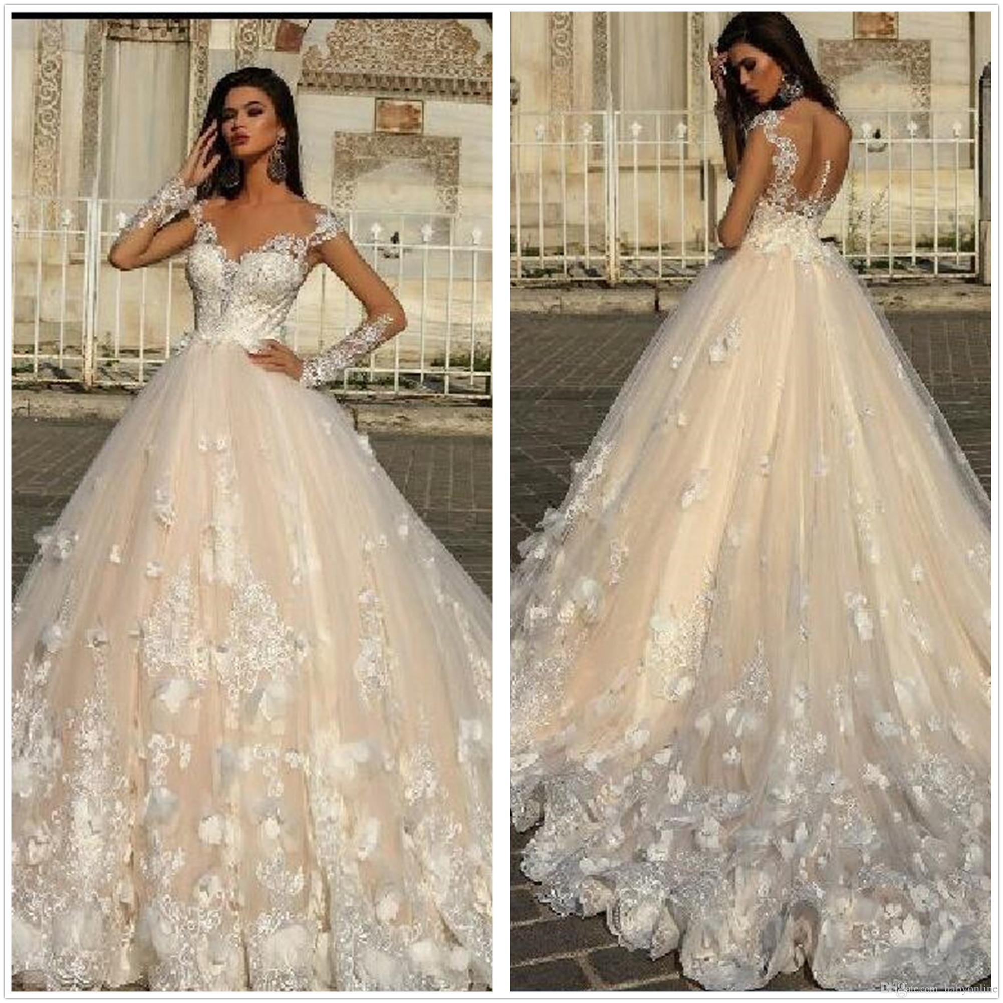 Discount Romantic 2018 Sheer Long Sleeves Lace A Line Wedding Dresses Tulle  Applique 3D Floral Wedding Bridal Gowns Vestido With Buttons Wedding  Collection ... 1df1b52e74d2