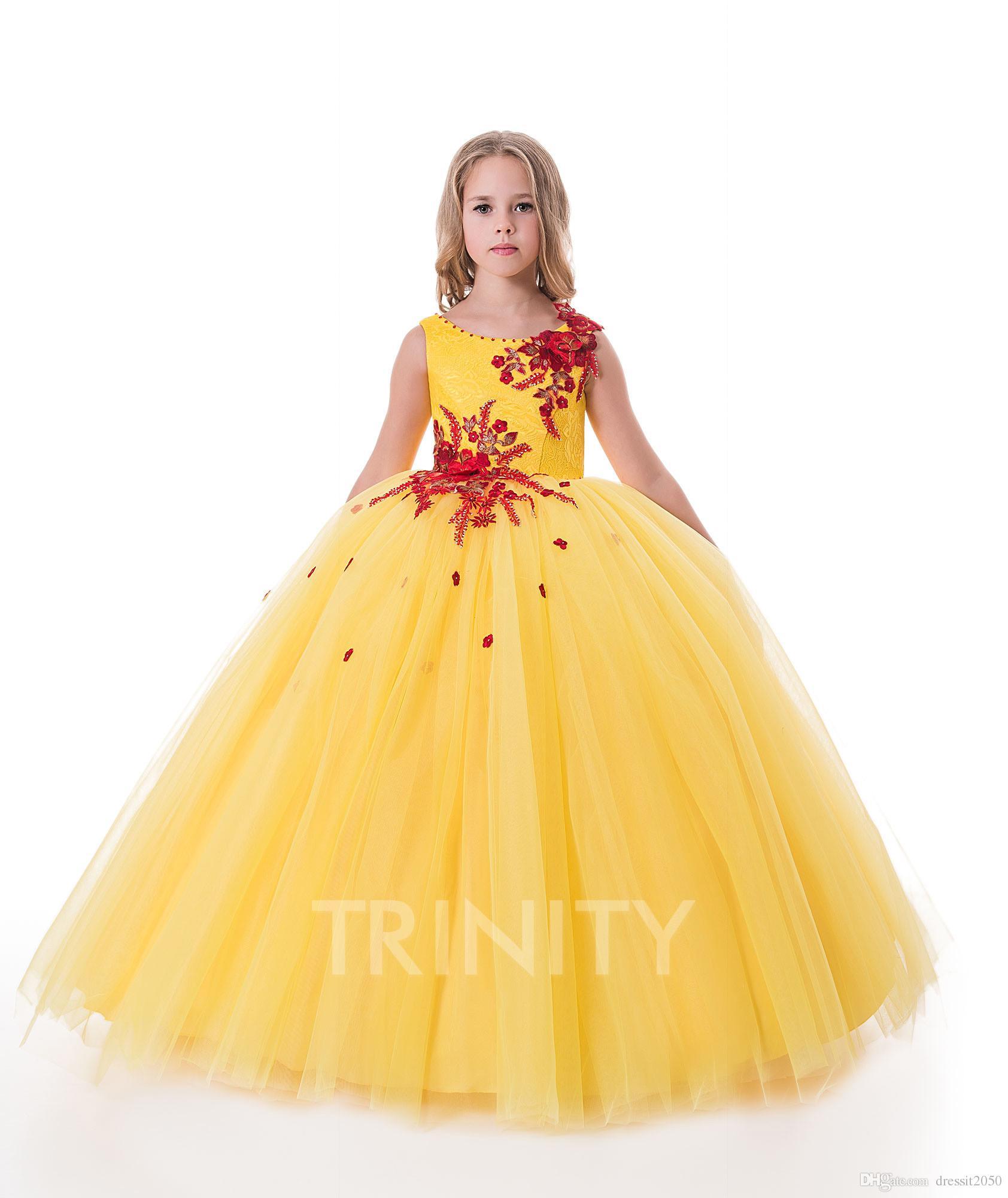 Bright Yellow Scoop Tullelace Applique Flower Girl Dresses Girls