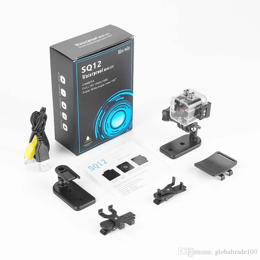 SQ12 Mini cámara a prueba de agua HD 1080P Grabador de video Cámara de acción deportiva digital Visión nocturna Videocámara gran angular