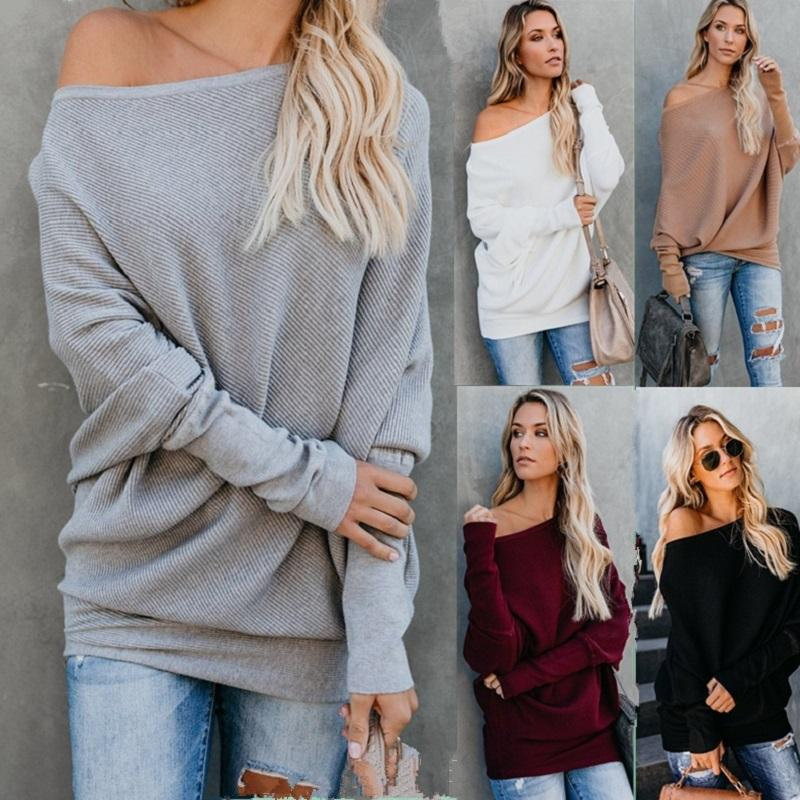 61825ef31d9 2019 New Autumn Winter 2019 Keep Warm Fashion Women Sweater Batwing Sleeve  Plus Size Loose Sweater Solid Off Shoulder Sexy Women Tops From Illusory01