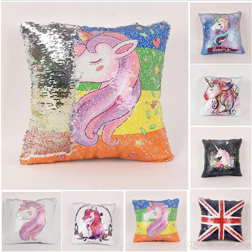 Unicorn Sequin Pillow Case Cover Mermaid Pillow Cover Glitter
