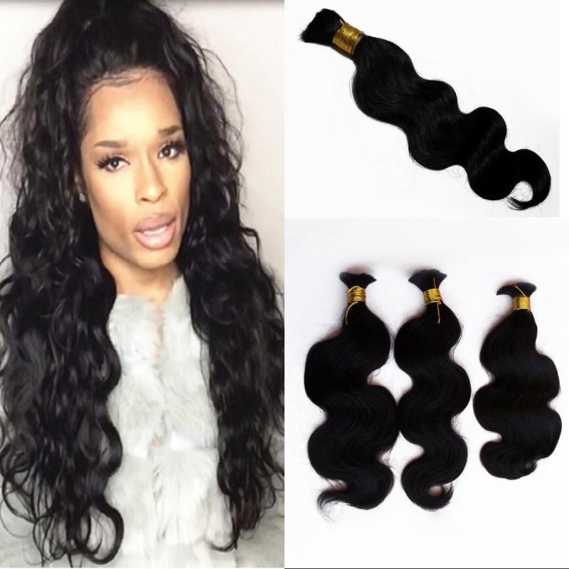 Brazilian Body Wave Bulk Hair Extensions 3 Bundles Natural Color