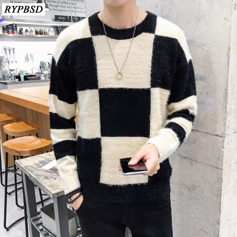 7f90e6037b7f 2019 Mens Plaid Pullover Knitted Sweaters 2019 New High Quality Warm Autumn  Fashion Casual Long Sleeve Crewneck Male Hip Hop Sweater From Yingluo, ...