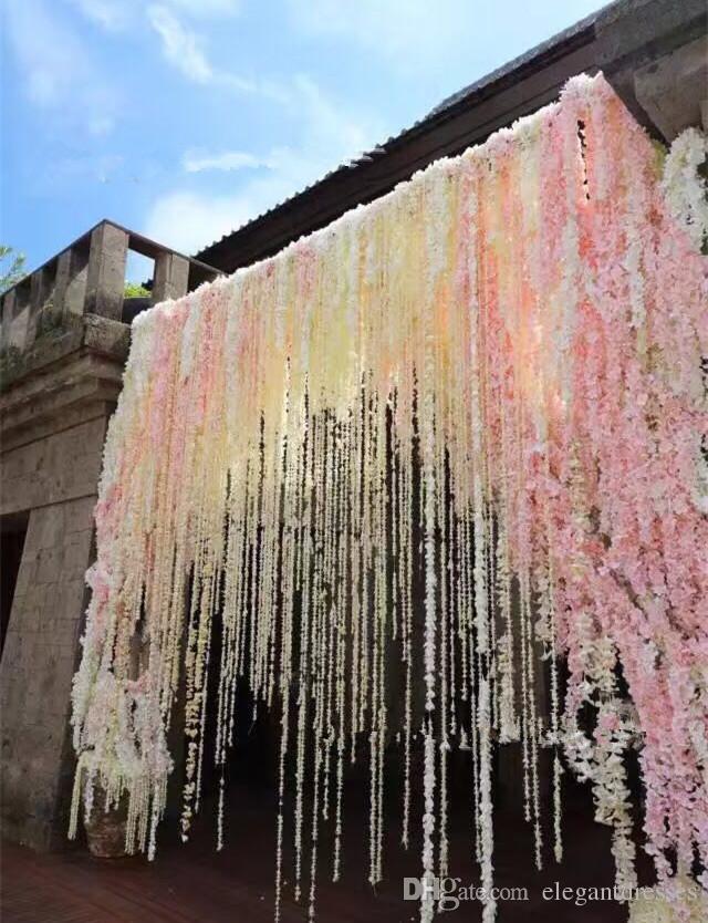2021 Romantik İpek Yapay Çiçekler Düğün Simülasyon Wisteria Vine Uzun Bitki Ev Odası Ofis Bahçe Kemer Dekorasyon Çiçekler
