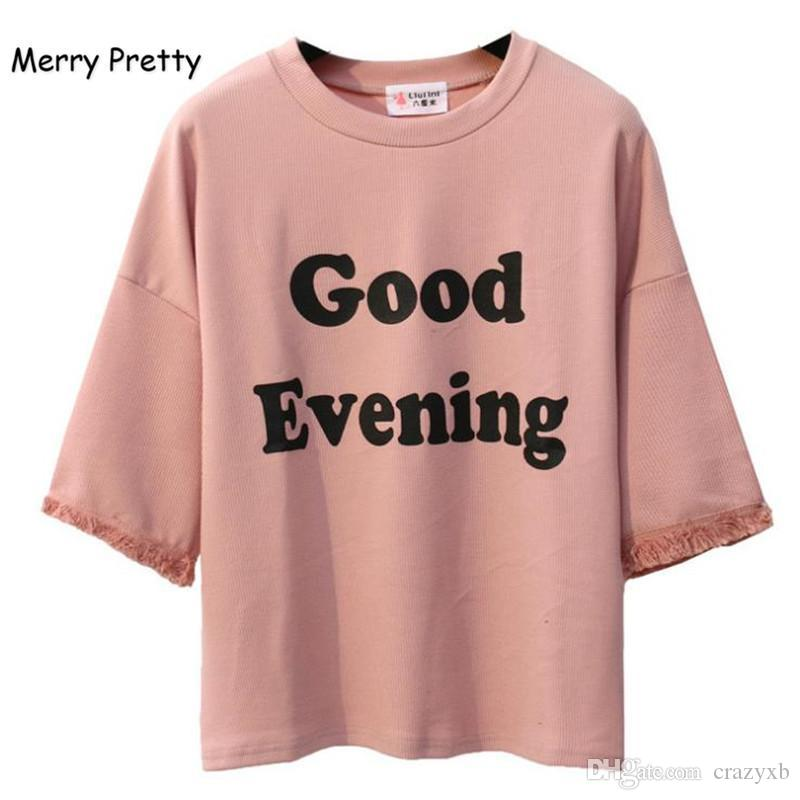 6c2755435434 MERRY PRETTY Pink Harajuku Style Women T Shirt Cotton Tops Tassel Letter  Print Batwing Sleeve Female T Shirts Casual Funny Top White T Shirt Design T  Shirt ...