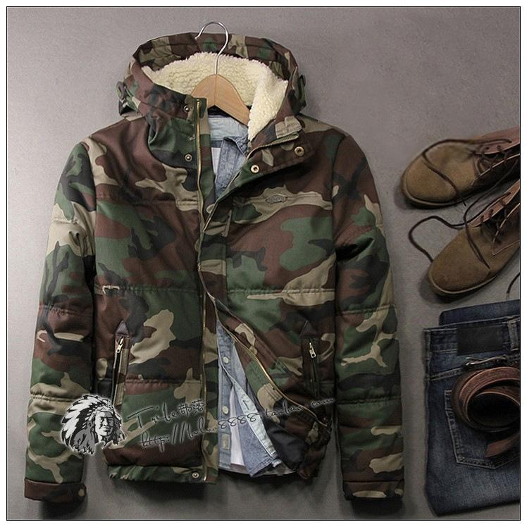 fa9efbef486bf Mens Camouflage Hooded Thicken Cotton Warm Winter Coat Loose Slim ...