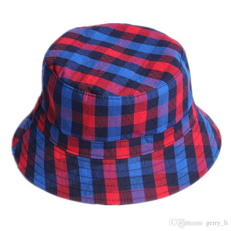 2019 Adult Cotton Flat Hats Men Women Chapeau Reversible Wear Bucket Hat  Color Plaid Fisherman Caps Outdoor Sun Protective Beach Hats From Gerry li 96e17ce8ed7