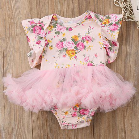 9211b510de1 2018 Summer Baby Girl Clothes Infant Clothing Floral Rompers Girls Flutter  Sleeve Jumpsuits Kids Tulle Tutu Bodysuits Newborn Onesies Pink Canada 2018  From ...