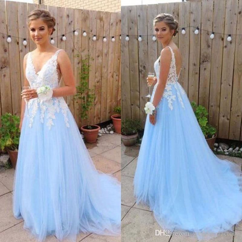 e25ac58b150 2019 Gorgeous Long Prom Dresses Light Sky Blue Tulle A Line V Neck  Sleeveless Vintage Lace Appliques Open Back Formal Dress Evening Gown  Celebrity Prom ...