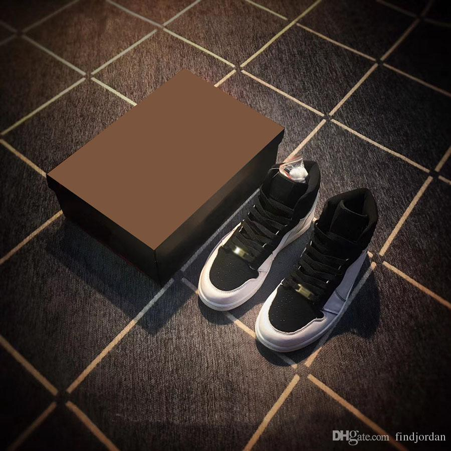 2018 High Men OG 1 EQUALITY Black White-Metallic Gold Basketball Shoes 1S JUMP MAN Sneakers Trainers Mens Sport Shoes