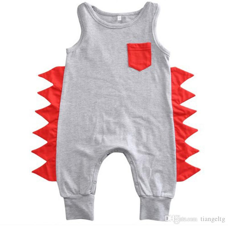 431695baa2e9 2019 Baby Boy Dinosaur Romper Summer Sleeveless Jumpsuits With Pocket Snaps Cotton  Infant Newborn Toddler Baby Clothes 0 24M From Tiangeltg