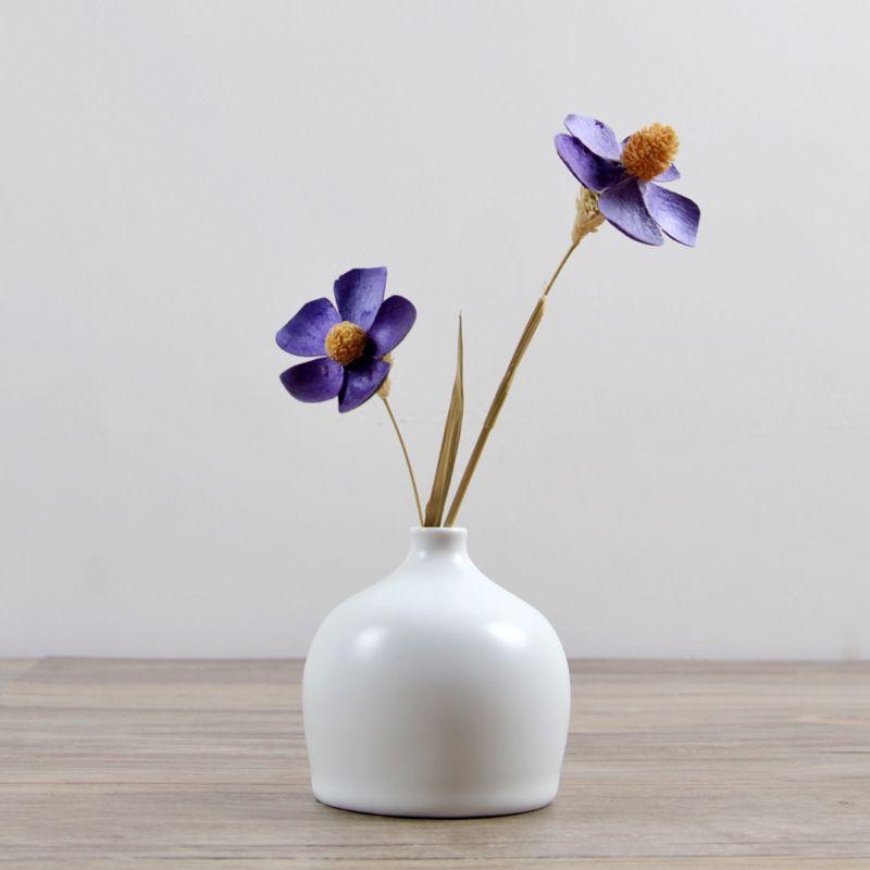 Saideke Home Decoration White Ceramic Flower Vase Matte Ornaments