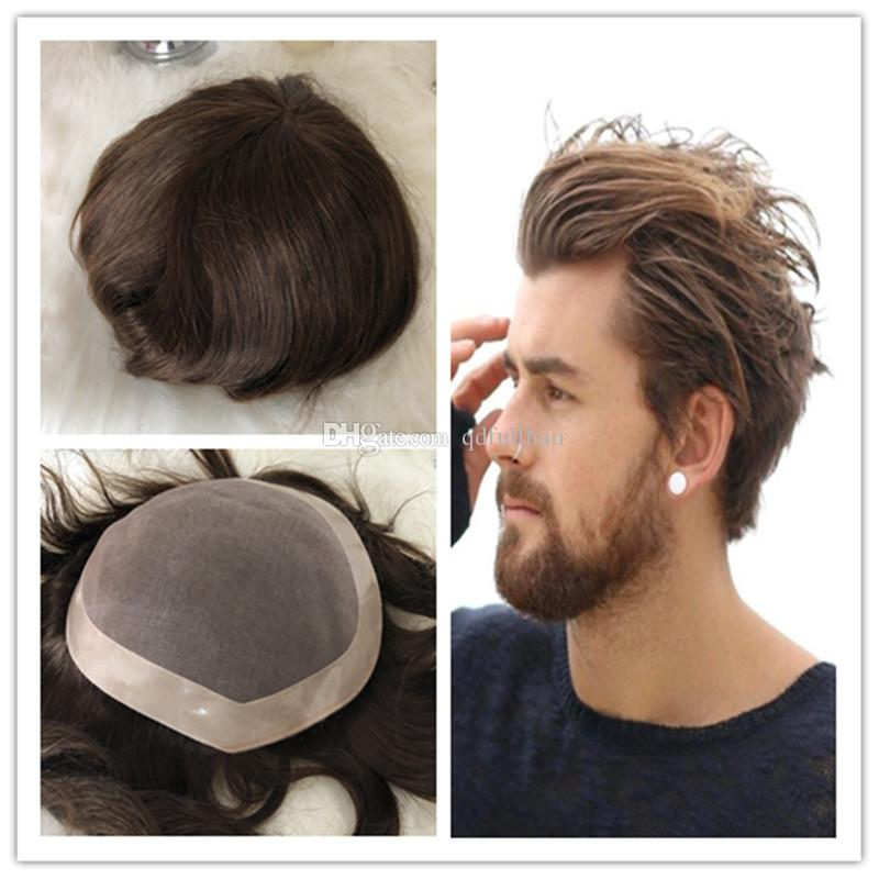Mono Lace Mens Toupee Human Hair Men Hairpieces Mono With Npu Around  Natural Hair Men Wig Free Style Replacement Systems UK 2019 From  Qdfullhair f7f613cf9