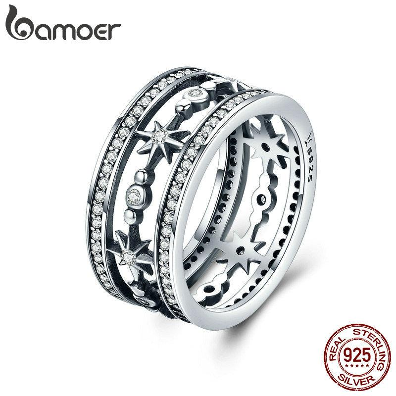 BAMOER High Quality 100% 925 Sterling Silver Cocktail Sparkling Star Female Rings for Women Sterling Silver Jewelry Anel SCR258 Y1891205