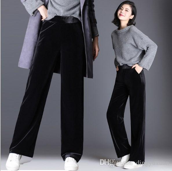 Korean Style Women S Wide Leg Velvet Pants Black Red Plus Size Women Bell  Bottom Velour Trousers Elastic Waist Palazzo Pants 9XL UK 2019 From  Dingyuxuan 8488c683f