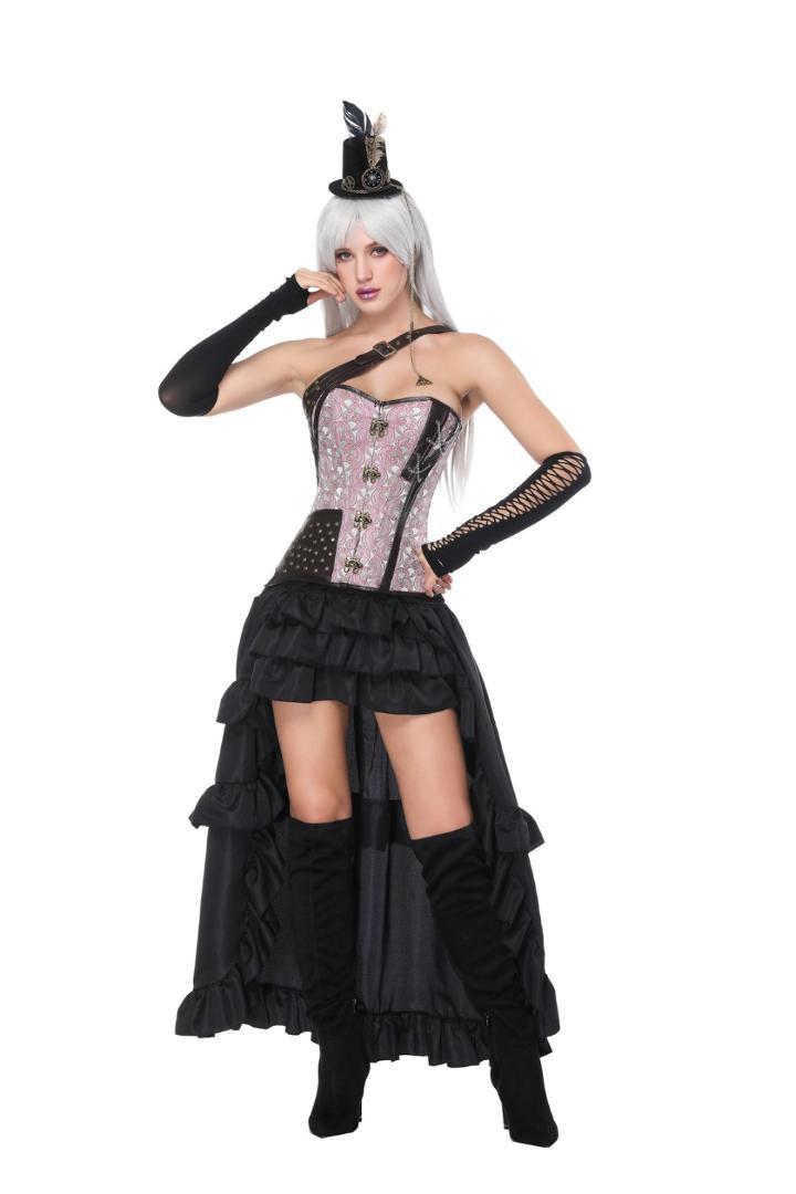 2019 Black Corset Dress Waist Trainer Gothic Steampunk One Shoulder