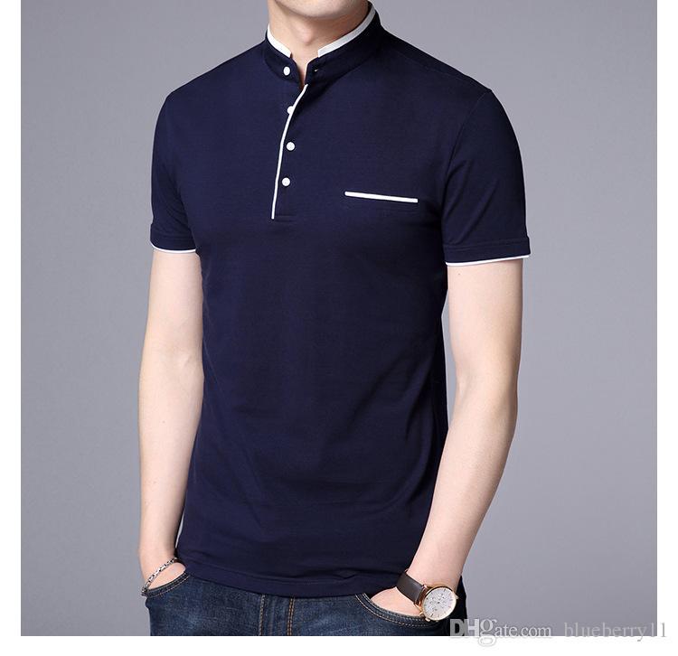 Compre Verano Nueva Marca De Moda Ropa Camiseta Negro Hombres Color Sólido Slim  Fit Camiseta De Manga Corta Hombres Cuello Mandarín Camisetas Ocasionales L  ... ce772c9d2156d