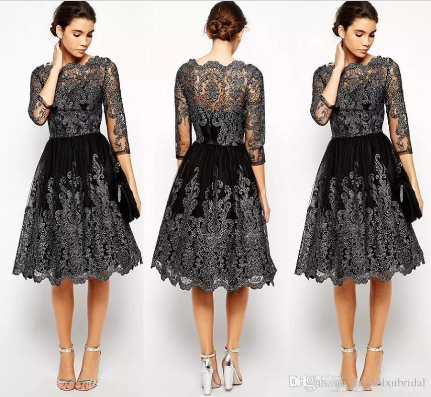 617befeba2f 2018 New Short Mother Of The Bride Dresses Jewel Neck Lace Appliques Knee  Length Black Long Sleeves Wedding Guest Prom Cocktail Evening Gown Mother  Of The ...