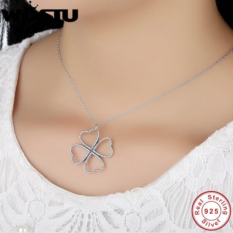 WOSTU Marka 100% Kadınlar Için Gerçek 925 Ayar Gümüş Yaprakları Kolye Kolye Orijinal Takı Hediye CRN007