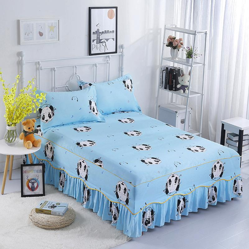 Blue Black And White Puppy Pattern Bedding Bed Skirt Bed Cover