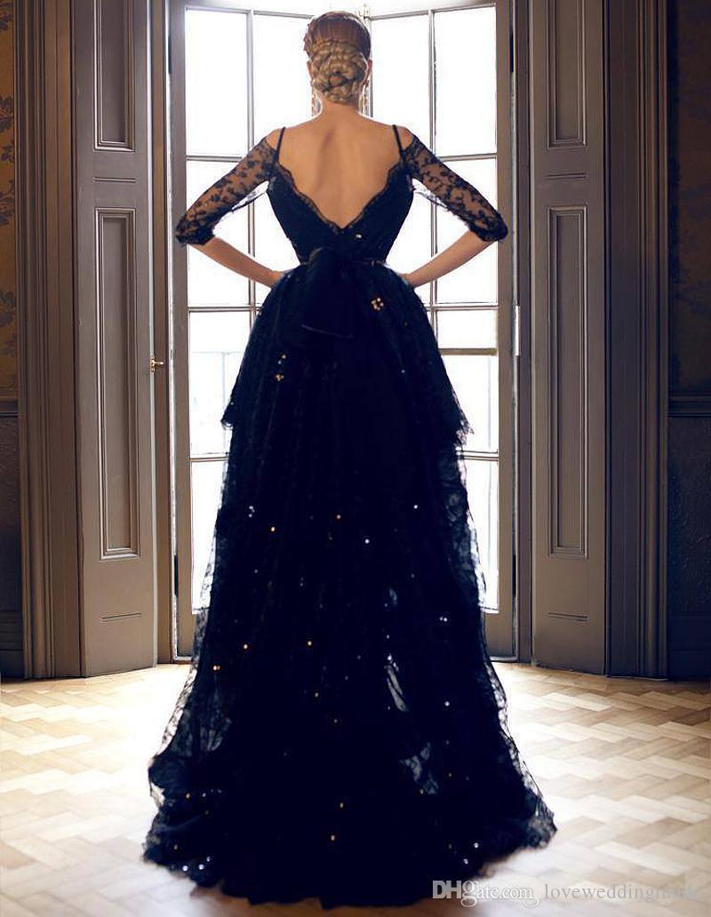 2018 Modest Negro completa de alta vestidos de baile bajo de encaje con medias mangas Partido correas espaguetis Formal Wear Mildde Este vestido de noche